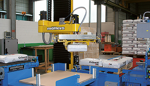 In a confined space scenario: the ROMEO® Palletizing robot